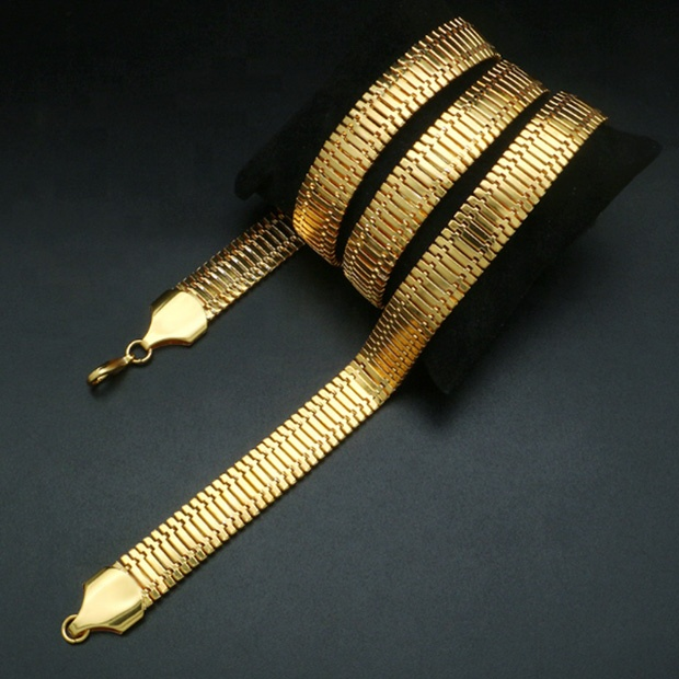 18K Gold-plated Snake Bone Gold Chain